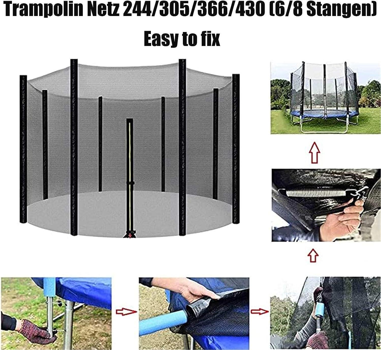 Trampoline Exterieur Enfant Filet Filet de S/écurit/é Remplacement pour Trampoline 244 305 366 430 cm GXFXLP Filet Trampoline Convient pour 6-8 Barres