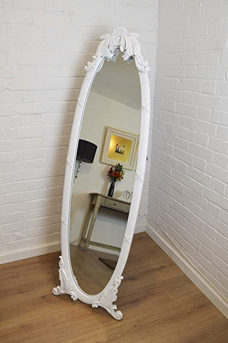 Large Antique Ornate White Wood Oval Freestanding/Cheval Mirror 5ft5 ...