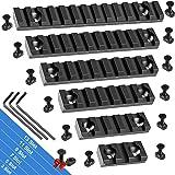 FANGOSS Picatinny Rails Set, 3 5 7 9 11 13 Slot Aluminum Mlock Picatinny Rail Section Accessory for M loc System with 13 T-Nu