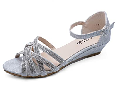 bbe06bb84ad Ladies Silver Wedding Bridal Bridesmaid Diamante Wedge Strappy Shoes Sizes  3-8