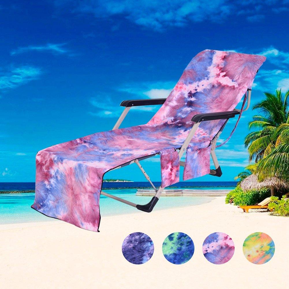 JanTeel Copertura della Sedia da Spiaggia Portatile secchezza rapido Sdraio Coperta Ispessita per Ferie Vacanza Blu Pool Sunbathing Lounge Chaise poltrone con Tasche Laterali