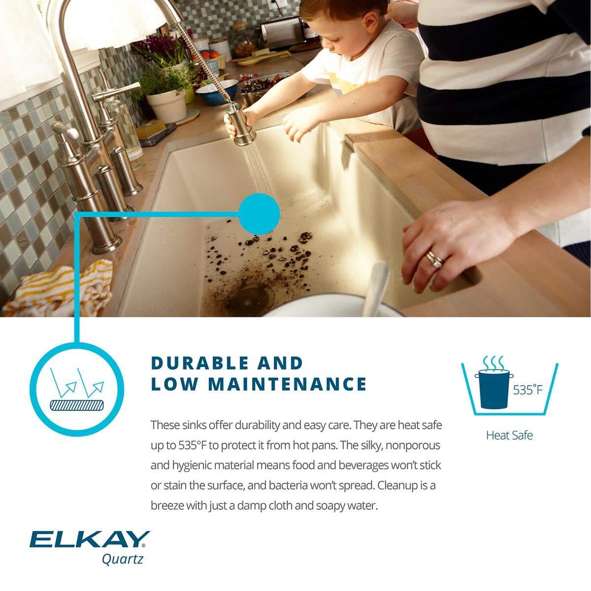 Elkay ELGU13322GR0 Quartz Classic Greige Single Bowl Undermount Sink