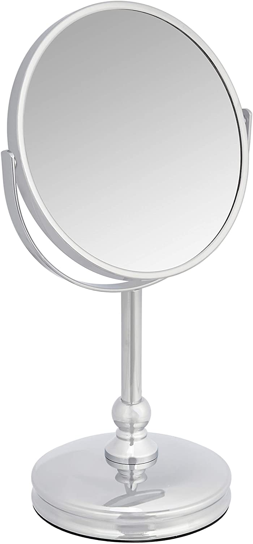 Amazon Basics Vanity Mirror with Heavy Base - 1X/5X Magnification, Chrome