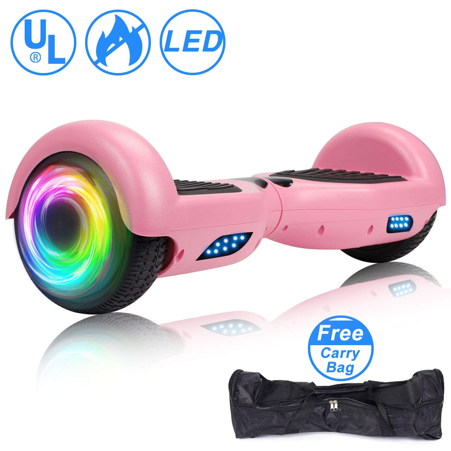 SISIGAD Hoverboard Self Balancing Scooter 6.5'' Two-Wheel Self Balancing Hoverboard with LED Lights Electric Scooter for Adult Kids Gift UL 2272 Certified - Pink by SISIGAD (Image #1)
