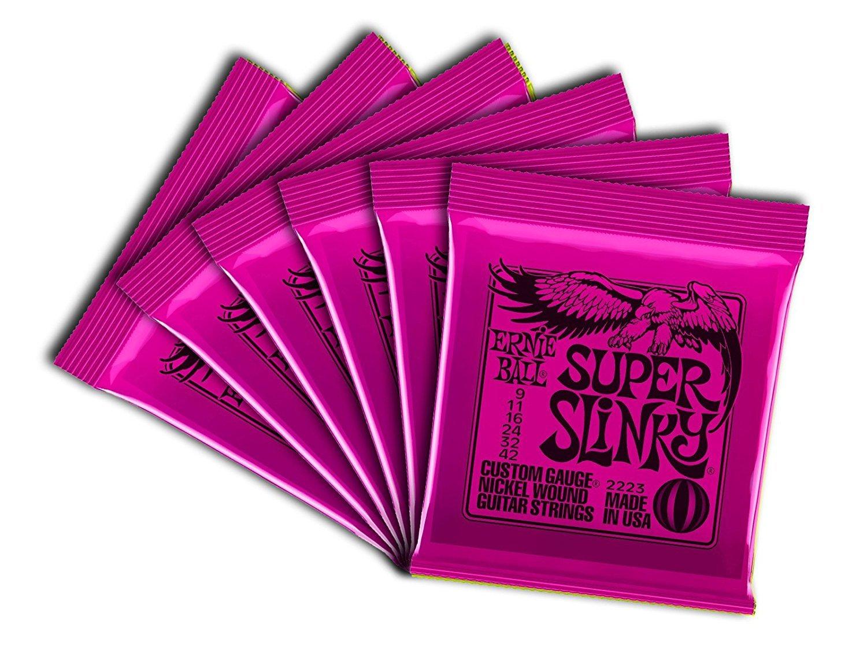 Ernie Ball 2223 Nickel Super Slinky Pink Electric Guitar Strings 6 Pack KIT-101789