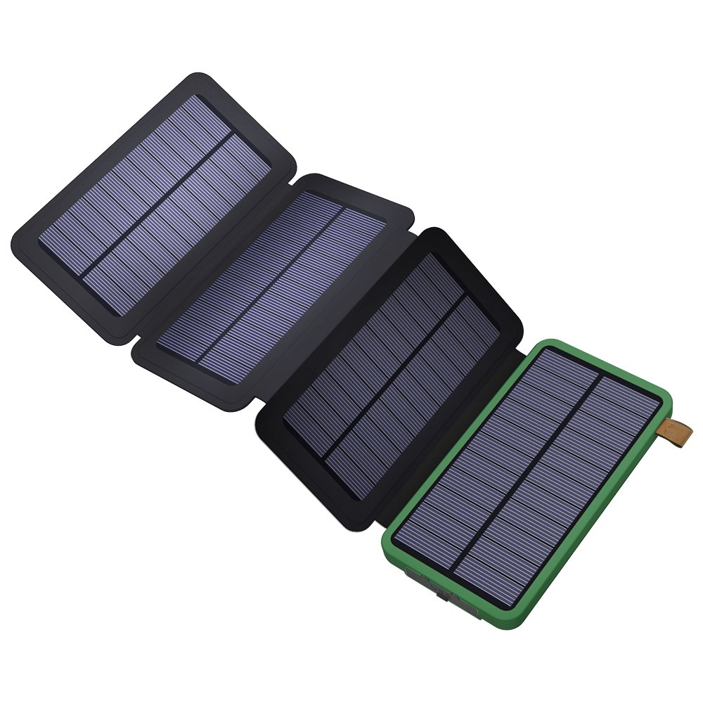 X-DRAGON Solar Charger 10000mAh Solar Power Bank with Dual USB, 4 Solar Panels, SolarIQ Technology Solar Phone Charger Compatible with iPhone, Cell Phone, Samsung, ipad, Outdoor, Camping and More