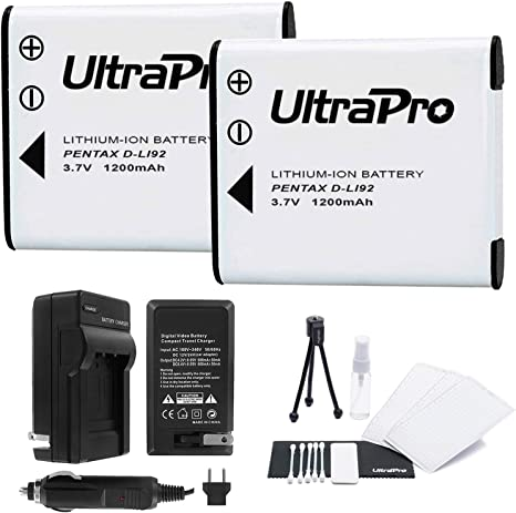 D-LI92 Battery 2-Pack Bundle with Rapid Travel Charger and UltraPro Accessory Kit for Select Pentax Cameras Including Optio I-10, WG-1, WG-2, WG-3, ...