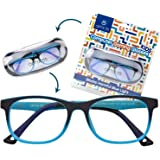 Kid's Blue Light Blocking Glasses - Flexible Square Frames, Computer and Gaming Eyeglasses for Boys and Girls - Bendable and Unbreakable - by Optix 55 Blue Aqua Blue