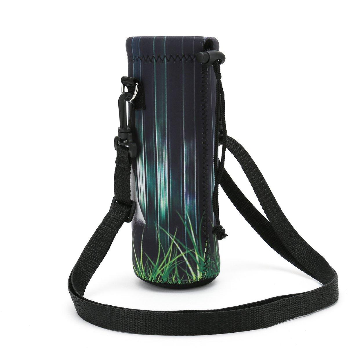 500 ml Neoprene Wine Tea Bottle Sleeve Holder Sling Insulated Outdoor Sports Camping Travel Cross-Body Shoulder Bag Case Pouch Cover ICOLOR Water Bottle Carrier 18 Oz