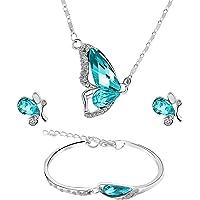 MOTINA Mujer Sets de Joyería Collar de Mariposa Azul Pendientes Pulsera Collar Colgante de Diamantes Palate de Cubic Zirconia Diamante de Imitación Completo Conjunto de Joyas de Mariposa