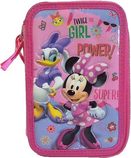 Disney Minnie Mouse Estuche 3 Zip Portapluma Triple Carioca completa, estuche completo Tres cremalleras Minnie Mouse Daisy Duck: Amazon.es: Oficina y papelería