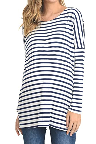 ASOS DESIGN Maternity Relaxed Long Sleeve Shirt in Striped