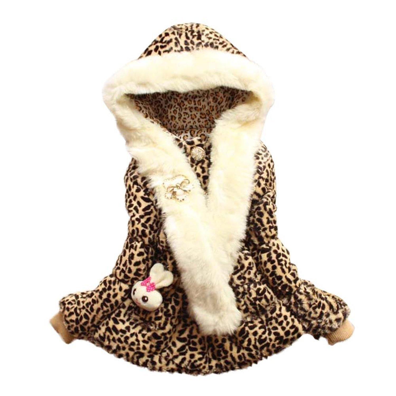 EGELEXY Baby Girls Faux Fur Leopard Hoodies Coat Kids Winter Warm Jacket 3/4T Leopard