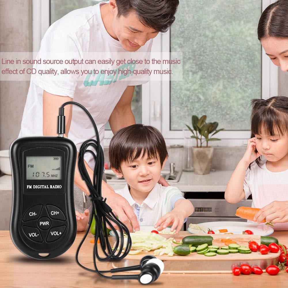 Festnight Mini Radio Est/éreo FM Receptor DSP Digital Port/átil con 1.15 Pulgadas Pantalla LCD Acollador 60-108 MHz Frecuencia de Recepci/ón KDKA-600 Negro
