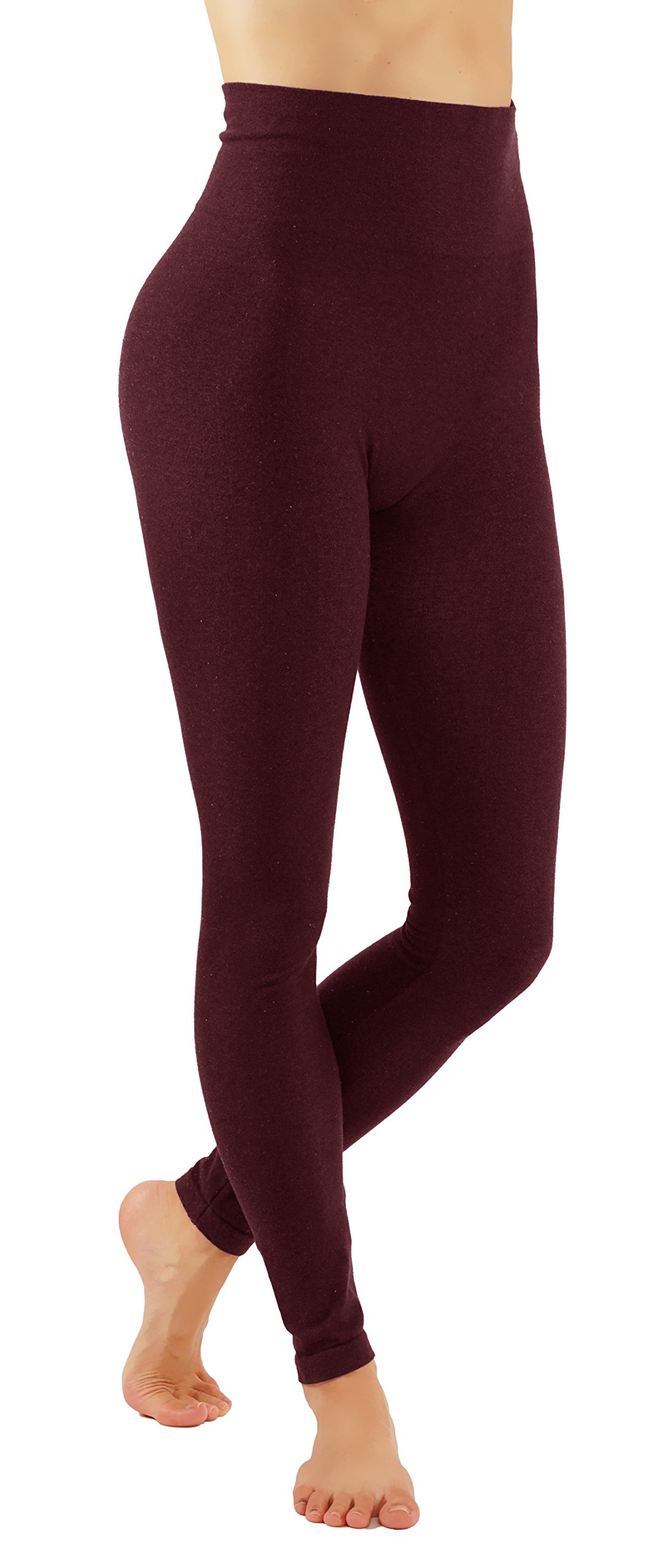 Pro Fit Women's High Waist Cotton Yoga Pants Workout Leggings (L/X-L Burgundy-lhw010)