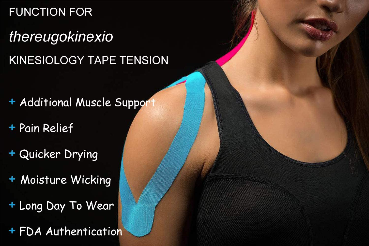 VGEBY Kinesiology Tape Waterproof Elastic Therapeutic Sports Tape for Pain Relief Muscle Joint Support