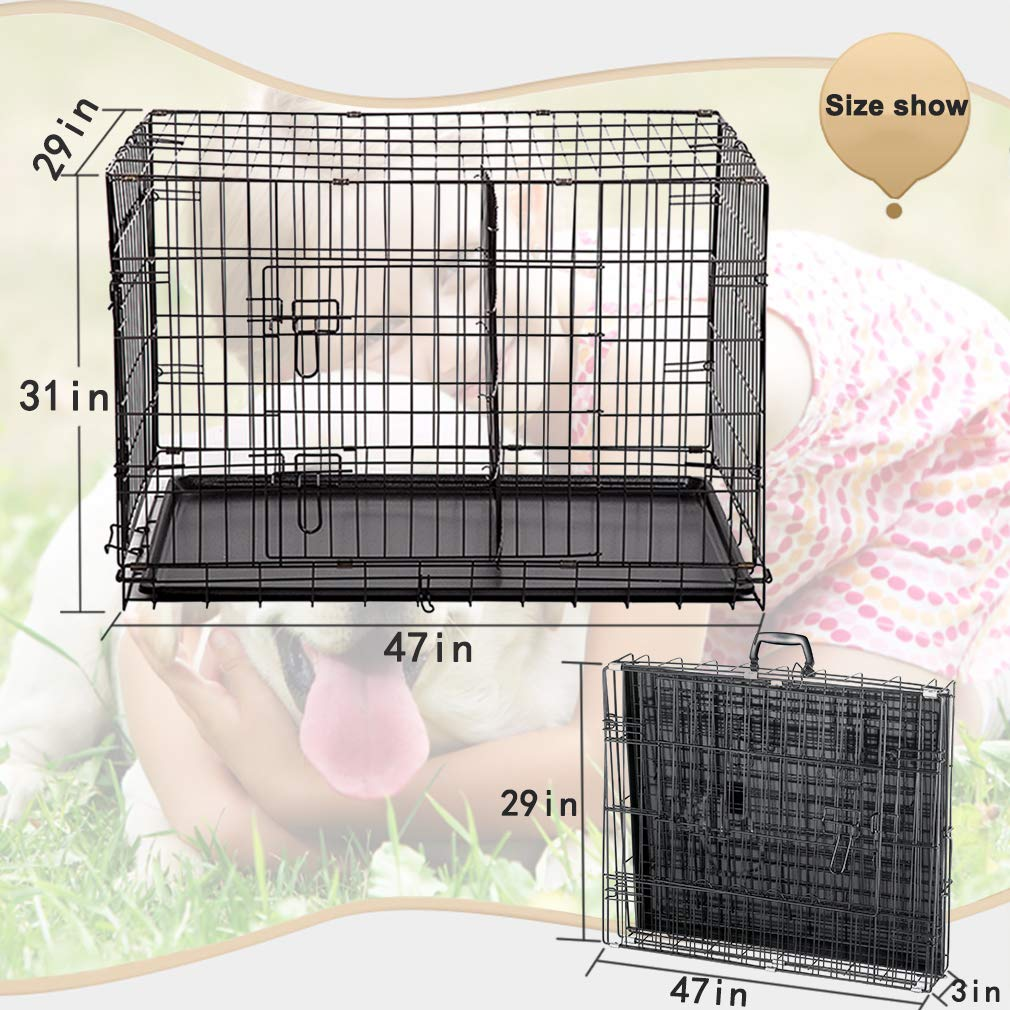 Dog Crate Dog Cage Pet Crate 48 Inch Folding Metal Pet Cage Double Door W/Divider Panel Dog Kennel Leak-Proof Plastic Tray Wire Animal Cage by BestPet (Image #7)