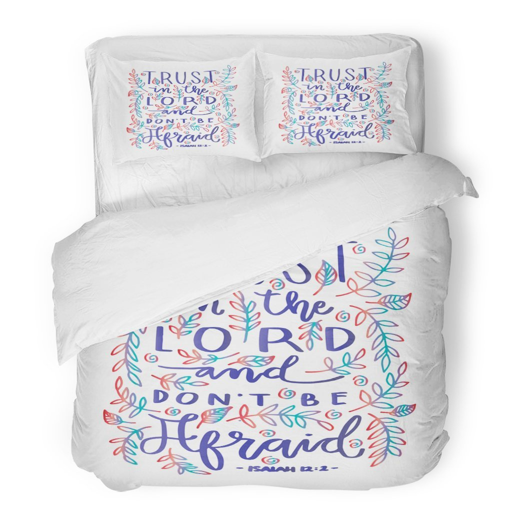 SanChic Duvet Cover Set Faithful Trust in the Lord Bible Verse Hand Lettered Quote Modern Calligraphy Christian Gospel Decorative Bedding Set 2 Pillow Shams King Size by SanChic