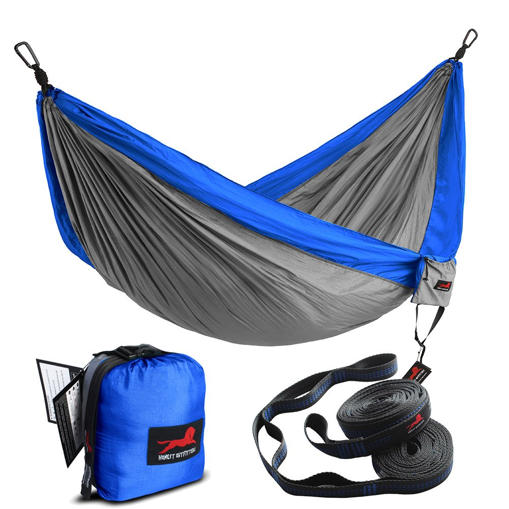 HONEST OUTFITTERS Double Camping Hammock with Hammock Tree Straps,Portable Parachute Nylon Hammock for Backpacking Travel 78'' W x 118'' L Royal/Grey