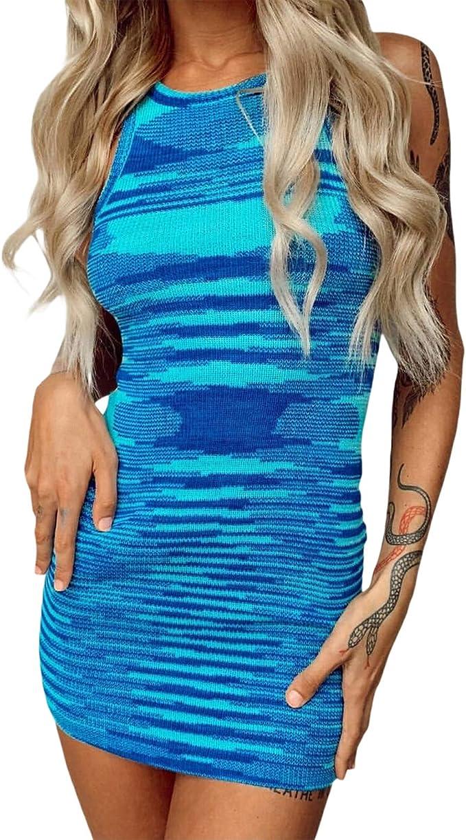 NUFIWI Women Sexy Tie Dye Mini Dress Rib Knitted Sleeveless Bodycon Short Dress Summer Y2K Streetwear