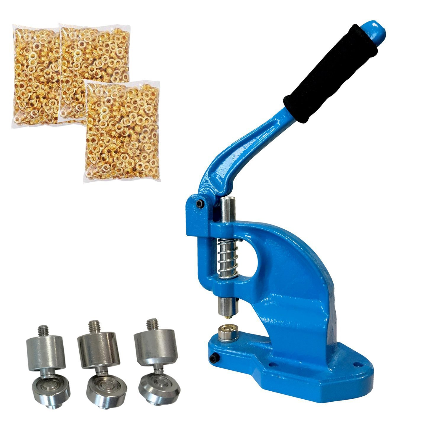 Tenive Manual Heavy Duty Hand Press Grommet Machine¨C Hand Eyelets Hole Punch Tool with 3 Die Sets - #0 #2 #4 - 900 Grommets - A Perfect Hand Press Grommet Machine for Semi-professional and Home