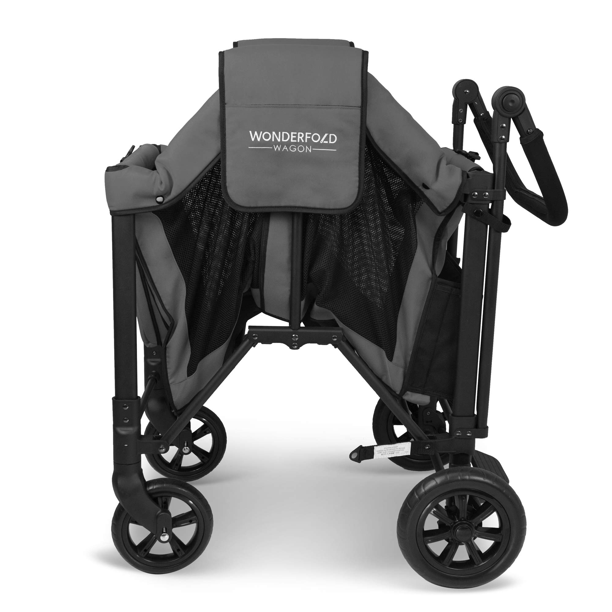 WonderFold Multi-Function Push 2 Passenger Double Folding Stroller, Adjustable Canopy & Removable Chair Seat Up To 2 Toddlers (Charcoal Gray) by WonderFold (Image #5)