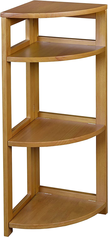 "Niche Flip Flop Corner Folding Bookcase, 34"", Golden Oak"