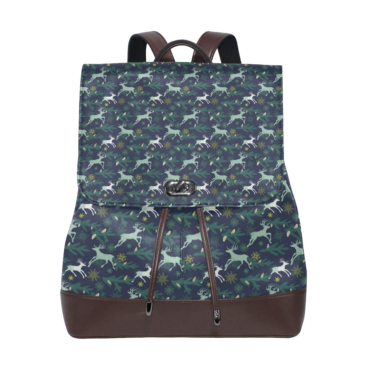 Unisex PU Leather Backpack Christmas Deers Pine Tree Green Print Womens Casual Daypack Mens Travel Sports Bag Boys College Bookbag