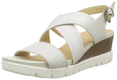 f0113959c37a4 Geox D Marykarmen Plus B, Sandales Plateforme Femme, Blanc Cassé (Off White)