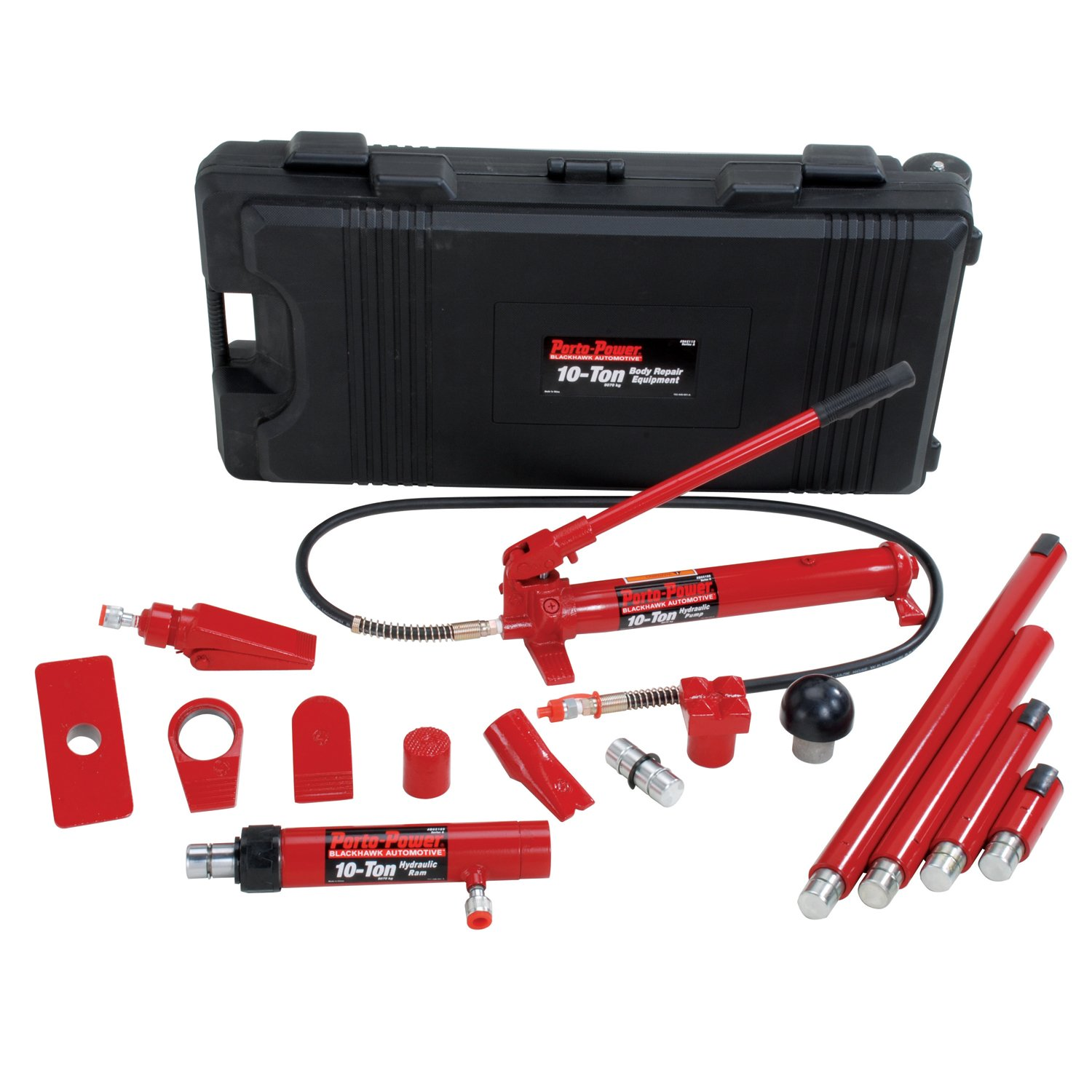 Porto-Power B65115 Black/Red Hydraulic Body Repair 19 Piece Kit - 10 Ton Capacity by Porto-Power (Image #1)