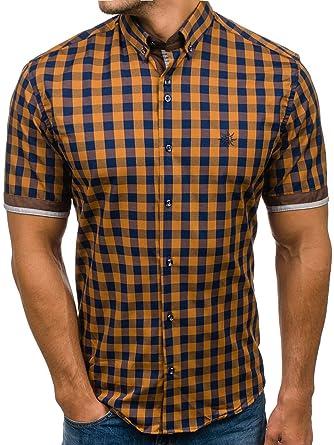 4bade390d123 BOLF Herren Hemd Business Freizeit Kurzarm Kariert Streifen Muster Slim Fit  Motiv 2B2  Amazon.de  Bekleidung