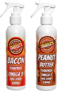 Bacon and Peanut Butter Flavored Omega 3 Spray for Dry Dog Food. Great for picky Eaters!