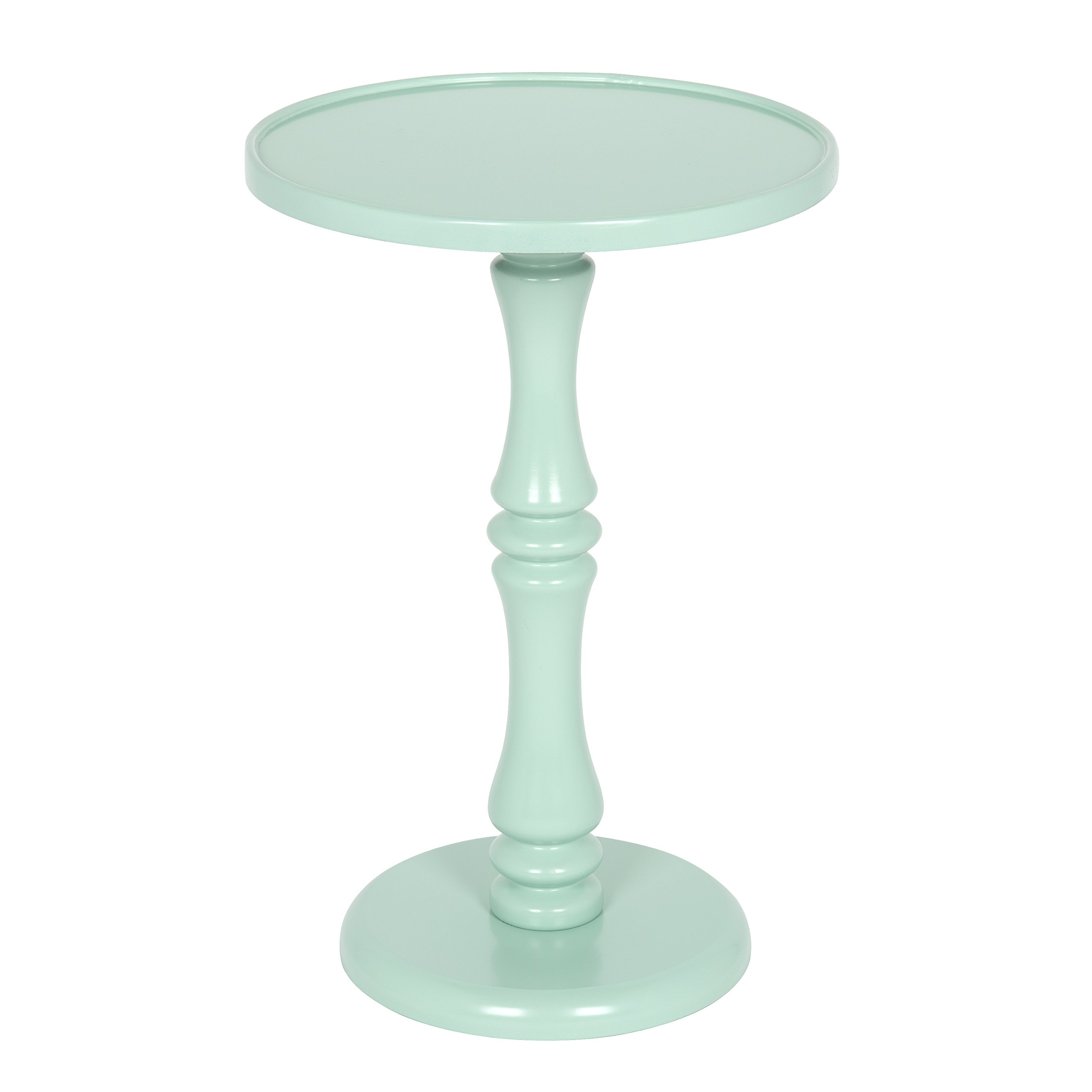 Kate and Laurel Rumi Round Wood Pedestal Accent Table, Mint Green