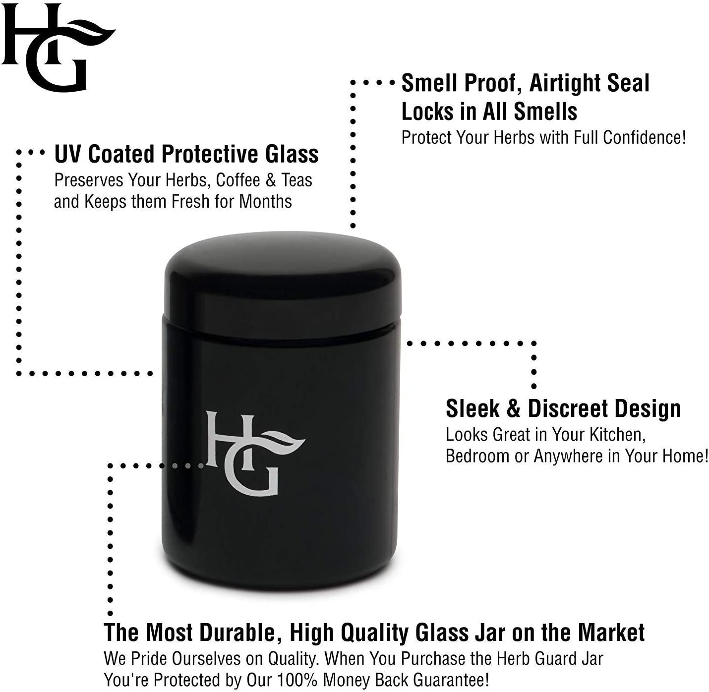 Herb Container - Half Oz Smell Proof Stash Jar (250 ml) Comes with Humidity Pack to Keep Goods Fresh for Months