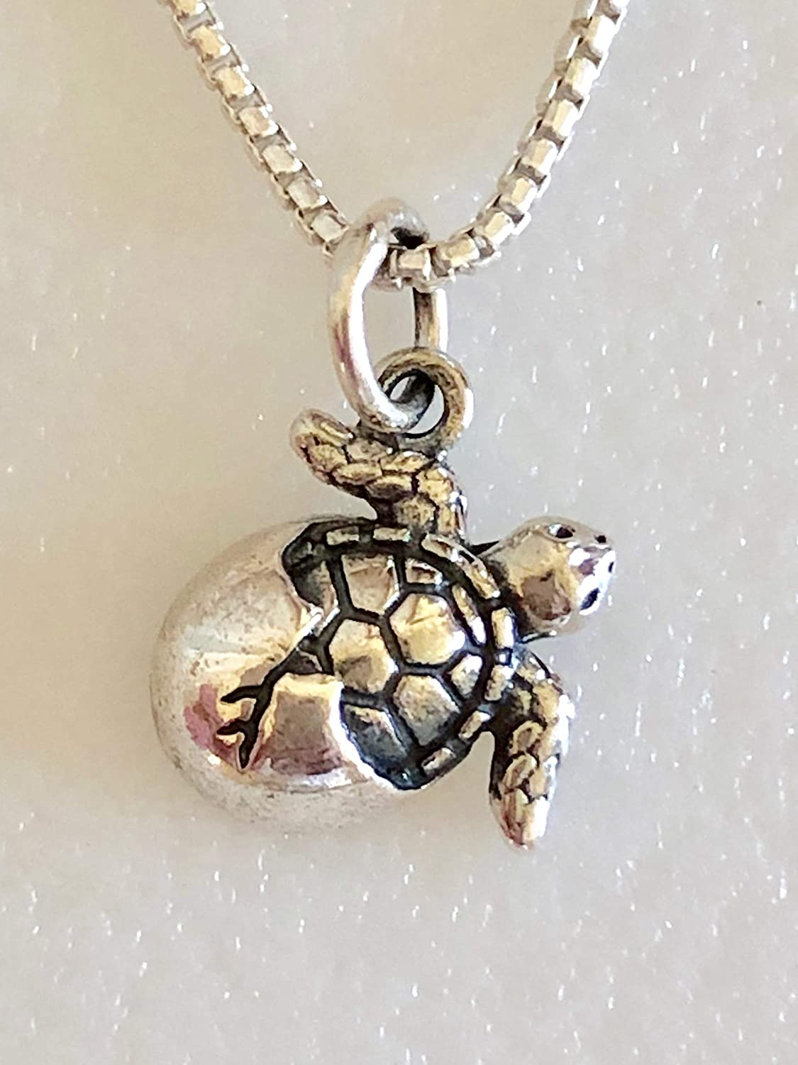 Baby Turtle Pendant in Solid 925 Sterling Silver
