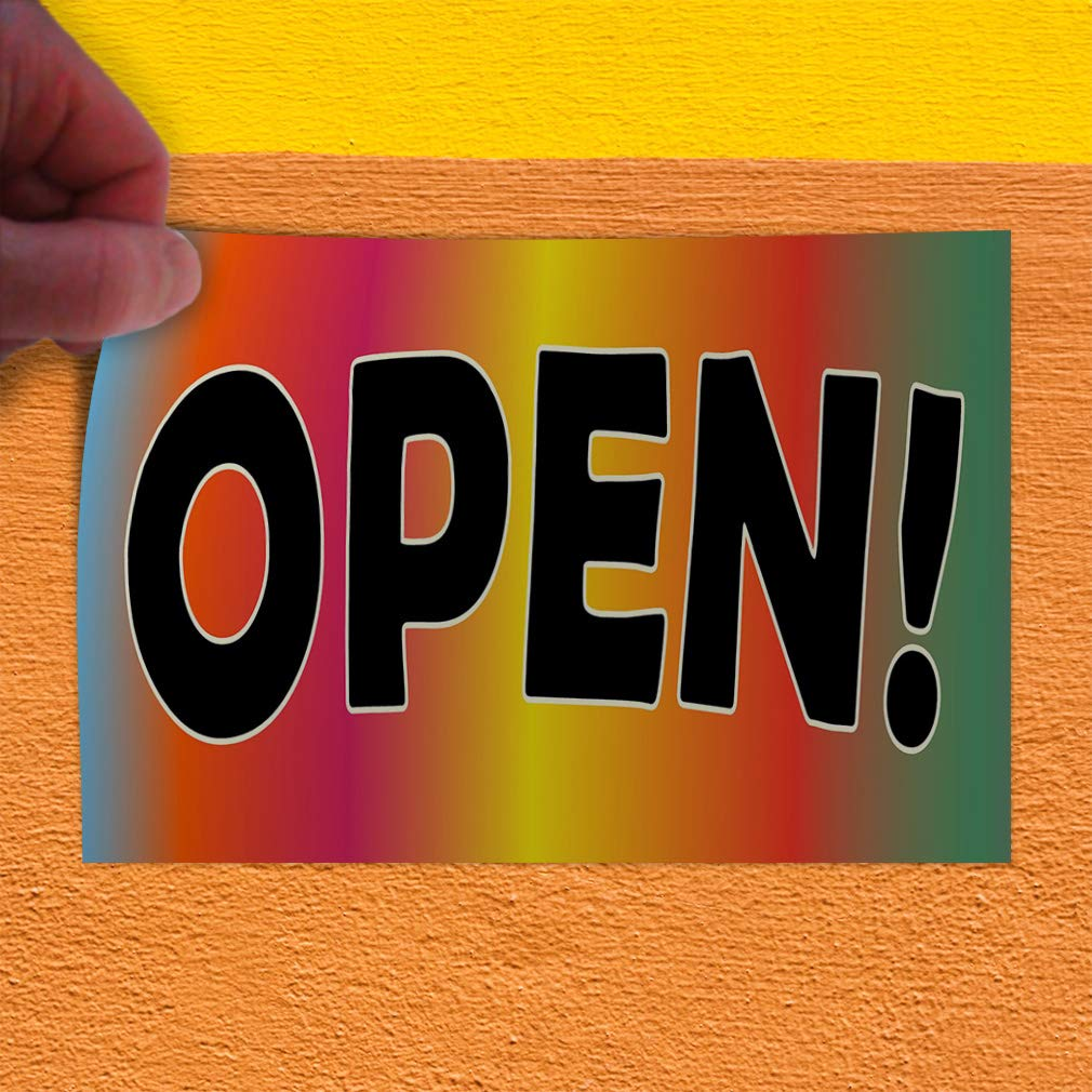 Decal Sticker Multiple Sizes Open Rainbow Black Business Open Outdoor Store Sign Multi-Colored 69inx46in One Sticker