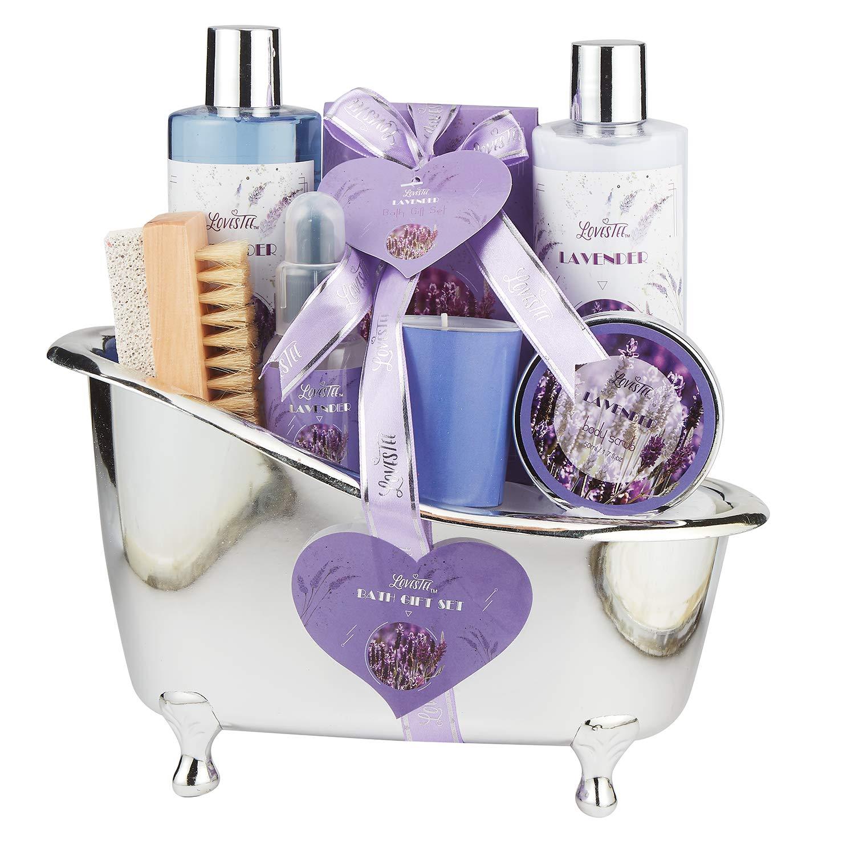 Relaxing Lavender Spa Bath Gift Baskets for Women-Girls, Christmas, Birthday, Bath and Body Set-Kit Includes Candle, Essential Oil, Body Scrub, Bath Salt, Body Lotion, Shower Gel and Body Scrub Brush Lovestee