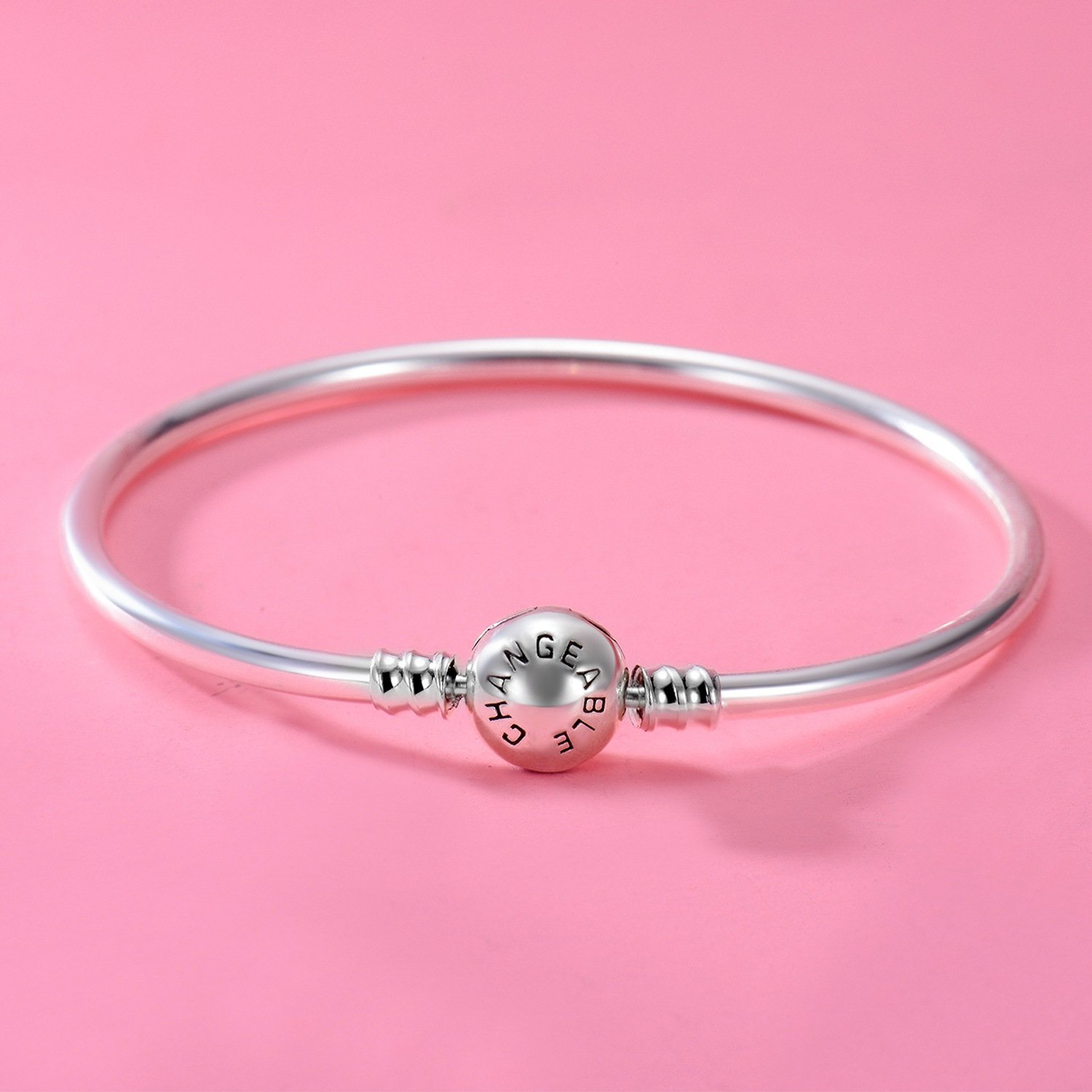 Changeable 925 Sterling Silver Women Charms Bracelet (Smooth Bangle) 19CM by Changeable (Image #3)