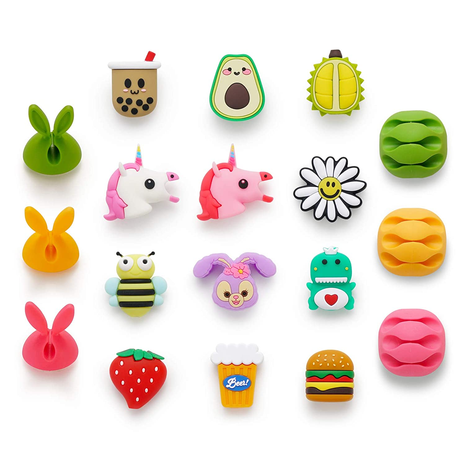 Cute Cable Protector,18 Pack USB Cable Protector for iPhone/ipad Charger, Animal Bite Charging Cord Protector and Holder, Charging Cable Saver Phone Accessory Protect USB Charger