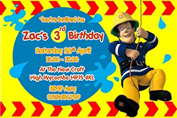 Personalised Fireman Sam Birthday Party Invitations X10 Amazon Co