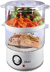 Oster Vaporizador de alimentos de doble nivel, 5 cuartos, blanco (CKSTSTMD5-W-015)