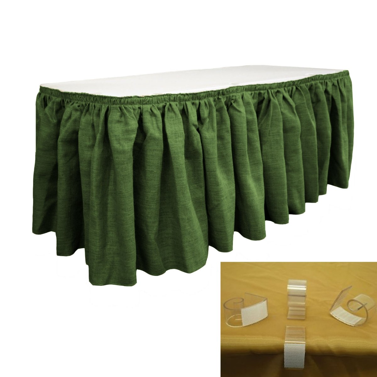 LA Linen SkirtBurlap14x29-10Lclips-GreenHunter Burlap Table Skirt with 10 L-Clips44; Hunter Green - 14 ft. x 29 in.