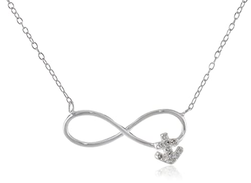 Amazon Com Sterling Silver Cubic Zirconia Infinity Anchor Necklace