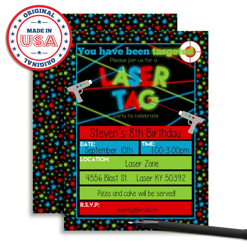 Amazon.com: Laser Tag Birthday Party Invitations for Boys, Ten 5\