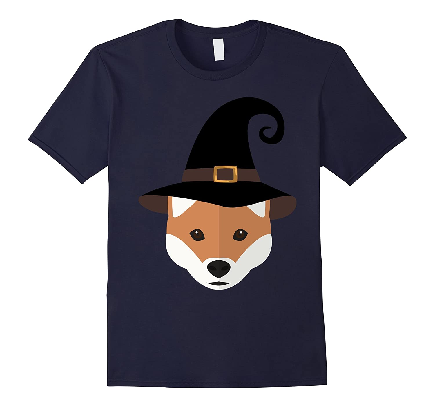 Shiba Inu Dog With Witch Hat Funny Halloween Tshirt-FL