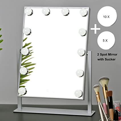 Amazon.com - MRah Hollywood Makeup Vanity Mirror - White Lighted Makeup Mirror Tabletops Lighted Mirror, LED Illuminated Cosmetic Mirror with LED Dimmable ...
