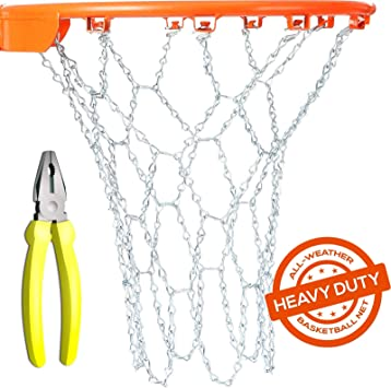 Amazon.com: Heavy Duty Cadena de metal Red de baloncesto de ...