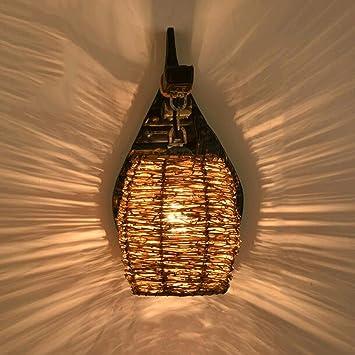 Wandleuchten GAOLILI Rustikale Holz Schlafzimmer Wohnzimmer Treppe Holz  Nachttischlampen Kreative Gang Vintage Rattan E27 (Farbe