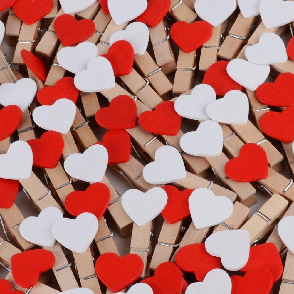 100 pz Mini Mollette Legno Mollettine Decorative Cuore Bianche per Foto Biglietti Scrapbooking Matrimonio BIANCO 100pz