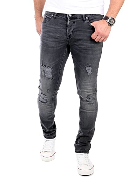 Reslad Jeans Herren Destroyed Look Slim Fit Denim Strech Jeans-Hose RS-2062